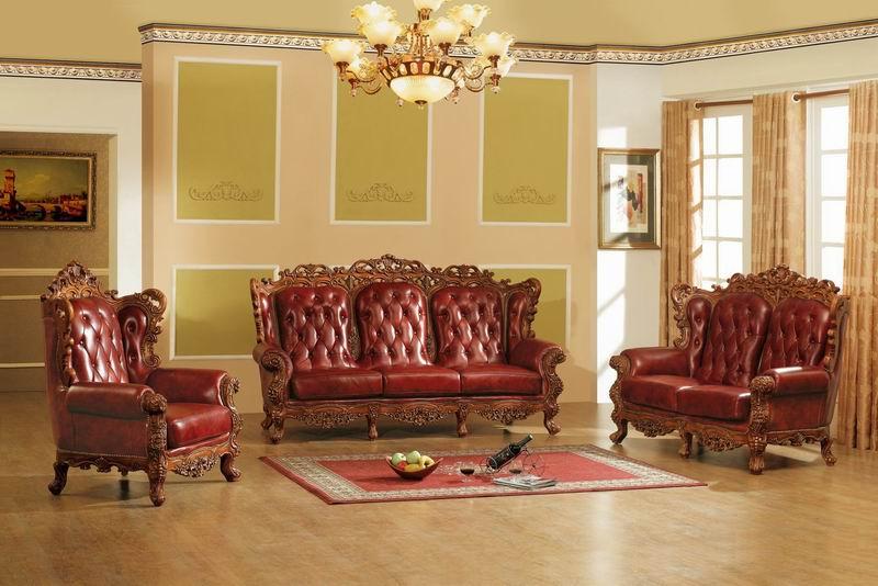 Decoration Salon  Canape Cuire Rouge