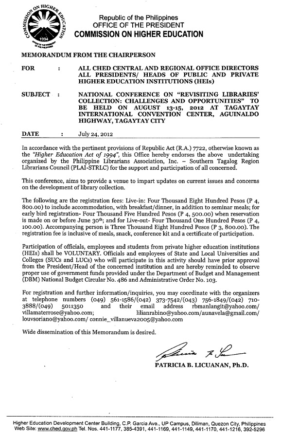 PLAI - Southern Tagalog Region Librarians Council: CHED Memo