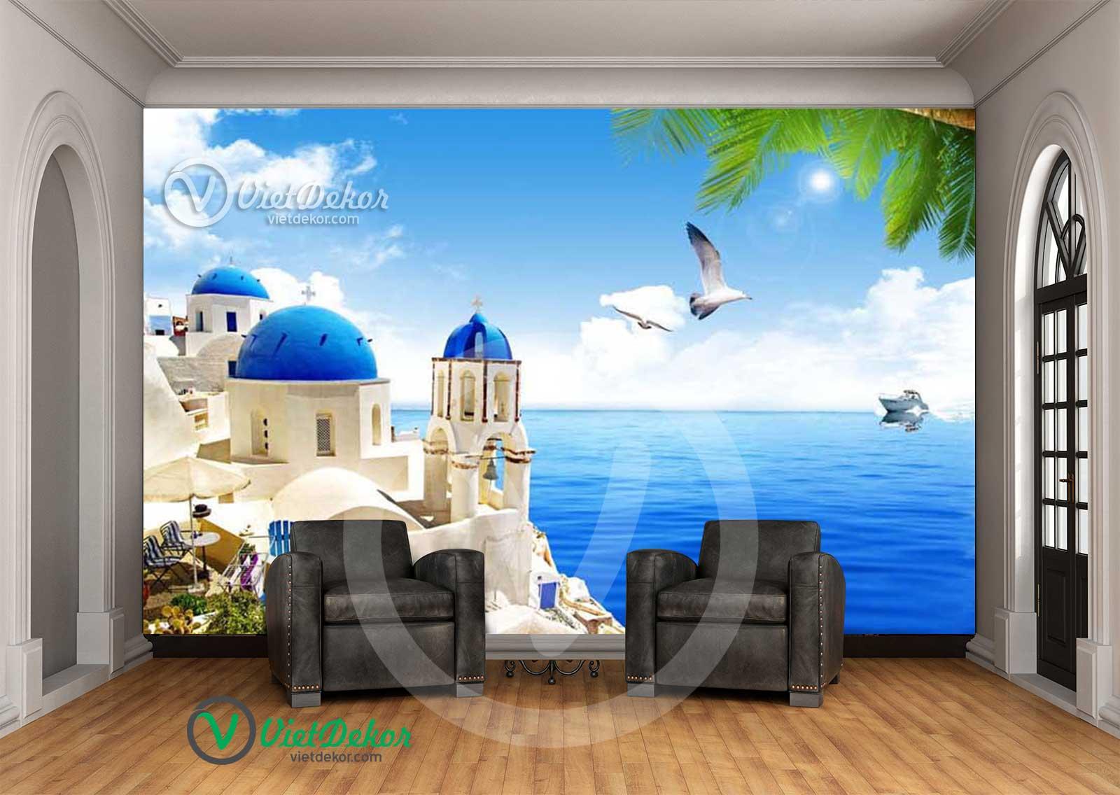 Tranh dán tường phong cảnh biển