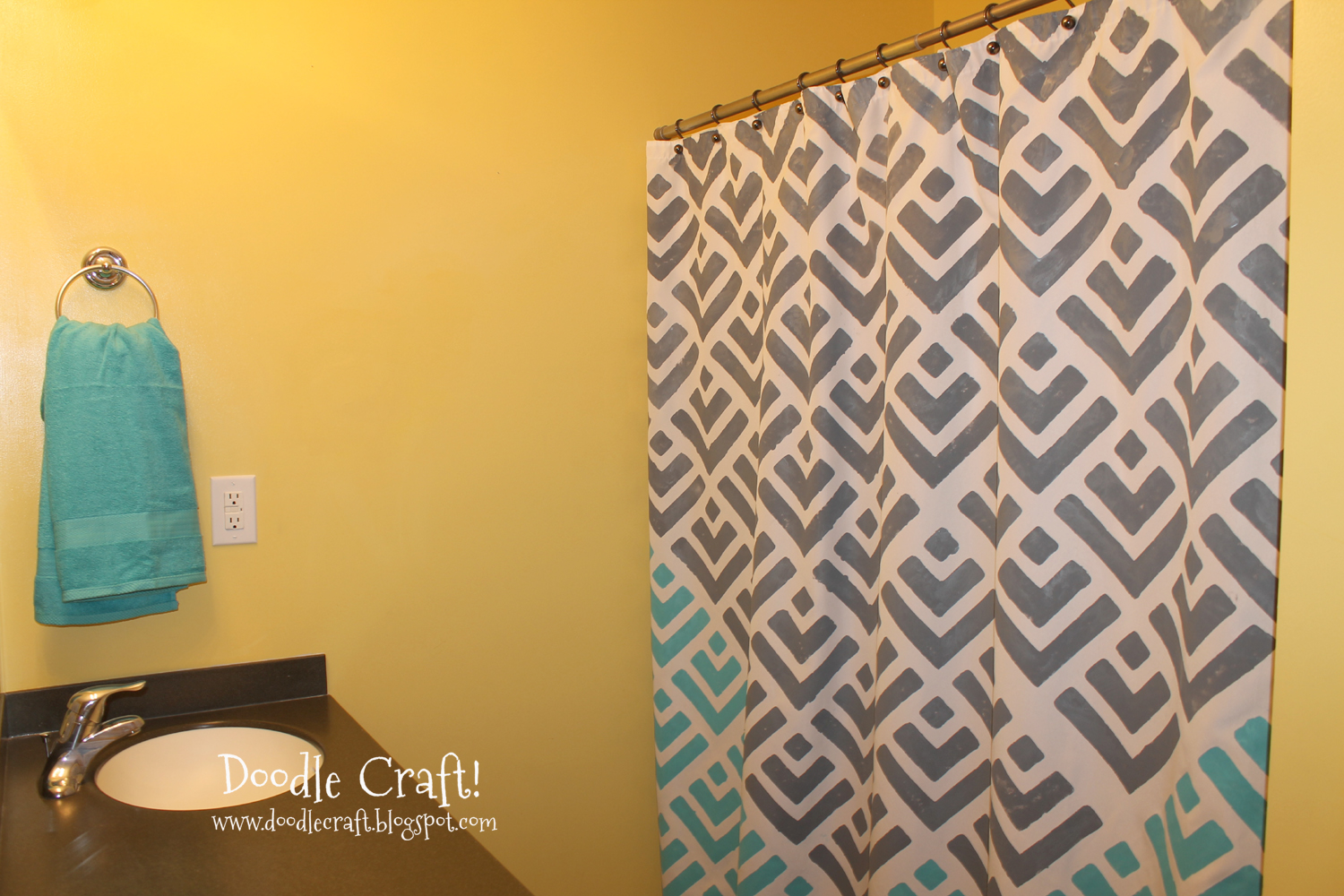 Mi Zone Microfiber Printed 72x72 Shower Curtain In Teal Yellow Color ...