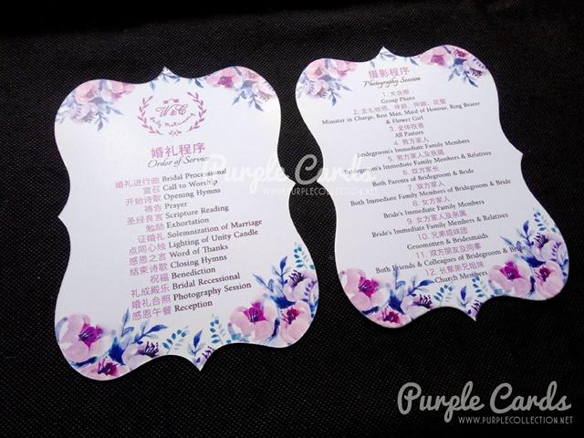 program cards, fans, die cut, any shape, mold, kuala lumpur, singapore, selangor, klang, ipoh, perak, pulau pinang, penang, bentong, pahang, kuantan, johor bahru, melaka, negeri sembilan, seremban, kedah, kelantan, online order, design, service, wedding event, invitation, save the date, order of service, program of the day, watercolour flower, purple, logo, flower wreath, theme, elegant, pretty, special, beautiful