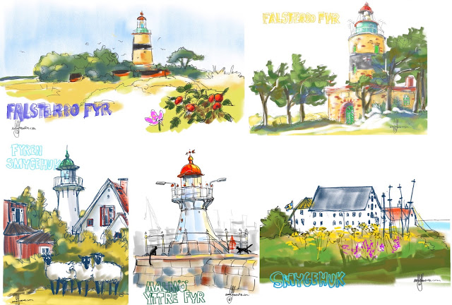 Lighthouse sketches by Ulf Artmagenta