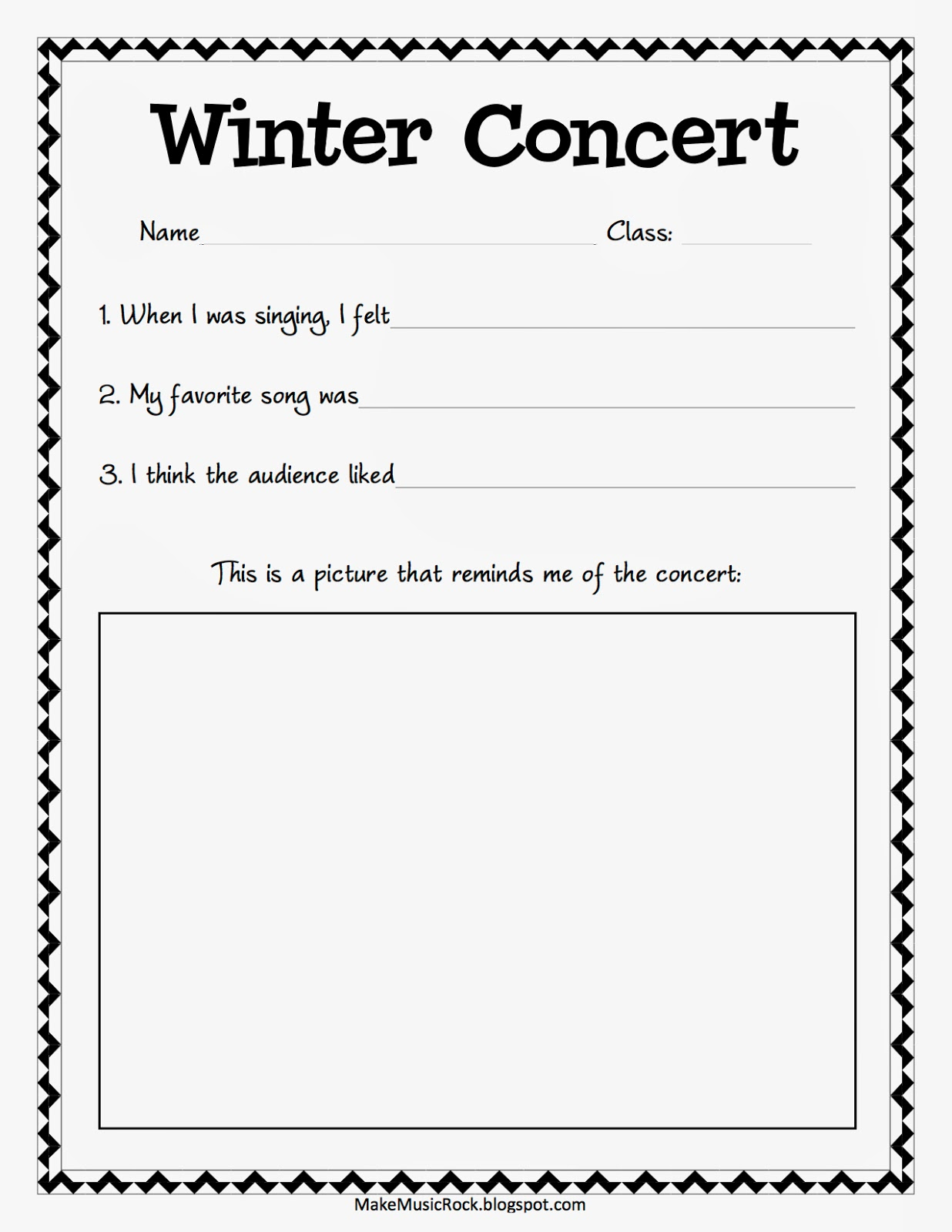 Make Music Rock Winter Concert Reflections For K