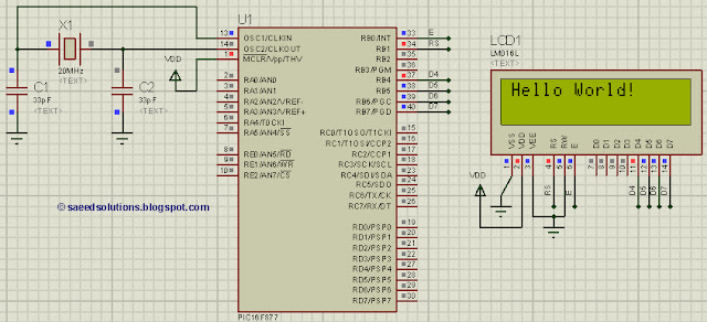 PIC16F877 LCD interfacing code (In 8bit mode) + Proteus simulation