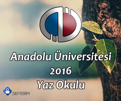 Anadolu Üniversitesi 2016 Yaz Okulu