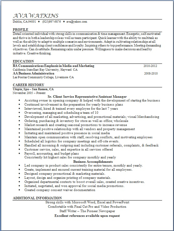 client service representative resume format in word free download