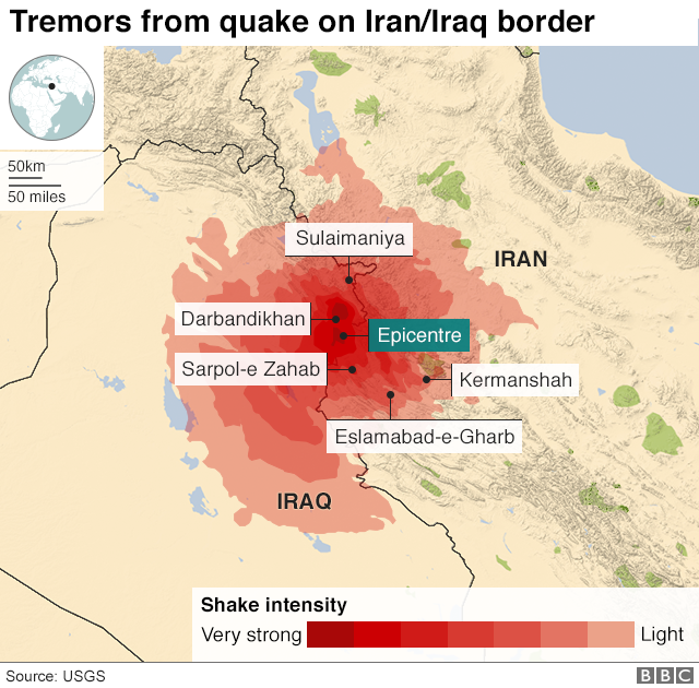 Map shows Magnitude of Earth Quake which happened in Iran