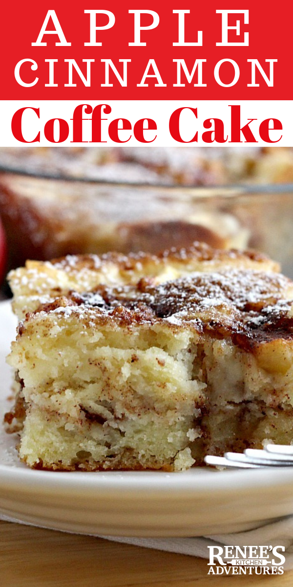 Apple Cinnamon Coffee Cake is an easy recipe for a fresh apple coffee cake made with buttermilk that's great for breakfast, brunch, or a sweet treat anytime of the day. Serve it as dessert or as a breakfast bread. Goes great with a cup of coffee or tea! #apples #cinnamon #breakfast #dessert #coffeecake #buttermilk