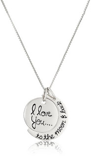 "Sterling Silver ""I Love You to the Moon and Back"" Pendant Necklace $14 (reg $75)"