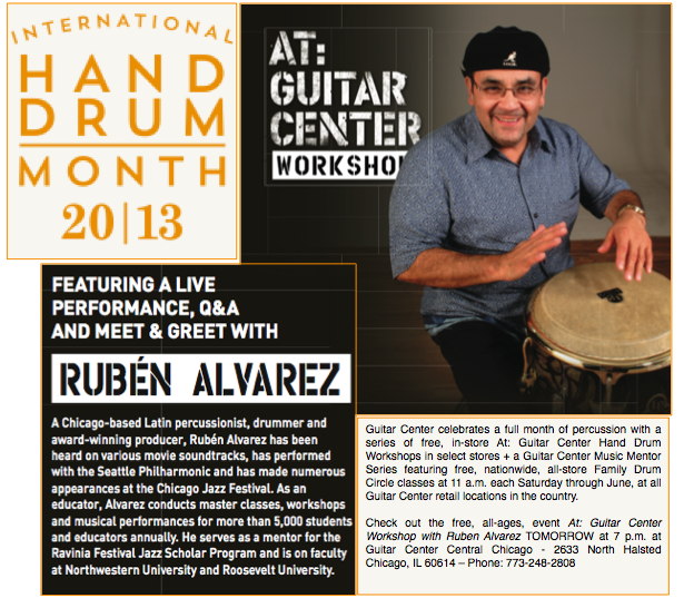 pix724 local pro percussionist ruben alvarez hosts free music workshop at guitar center chicago. Black Bedroom Furniture Sets. Home Design Ideas