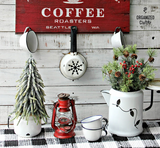 Stenciling Rustic Christmas Decor #oldsignstencils #stencil #enamelware #coffee #sign #rusticChristmas