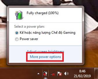 Sobat klik logo batre di taksbar. Kemudian klik More Power Option.
