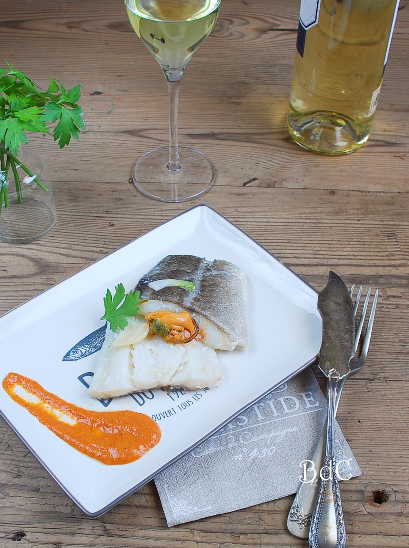 Bacalao confitado con salmorejo de mejillones- El bistrot de Carmen