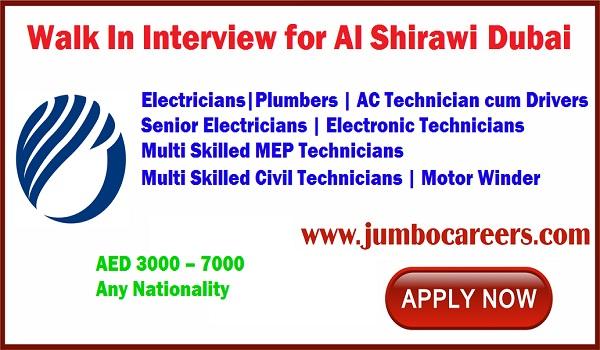 Latest jobs opening in Dubai Al Shirawi Dubai, Recent jobs in Dubai UAE,