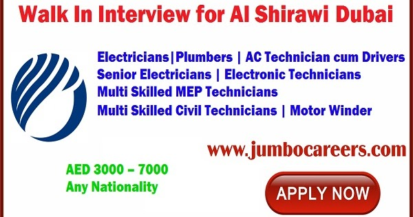 Latest Walk In Interview for Al Shirawi Dubai with Salary