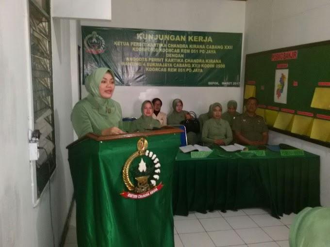 Ketua Persit Kodim 0508/Depok Sambangi Koramil 03/Sukmajaya