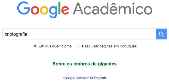 Google Acadêmco - Criptografia