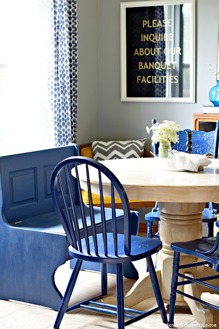 Farmhouse dining room bench makeover with Diva of DIY Chalk Mix.