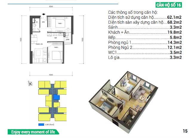 Thiết kế căn hộ 16 chung cư Housinco Grand Tower