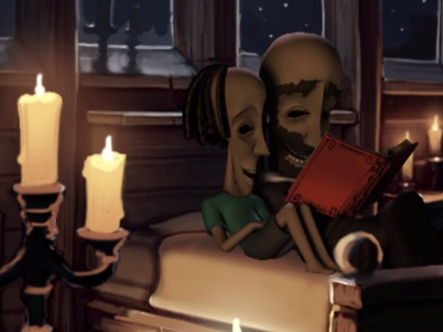 Kaonandodo lee a Bwana en la cama.