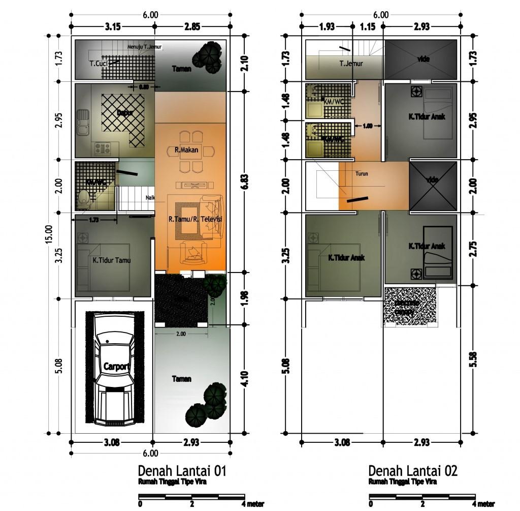 gambar denah rumah tingkat dua 4
