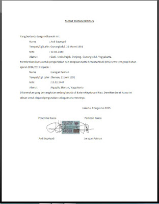 Contoh surat kuasa mahasiswa