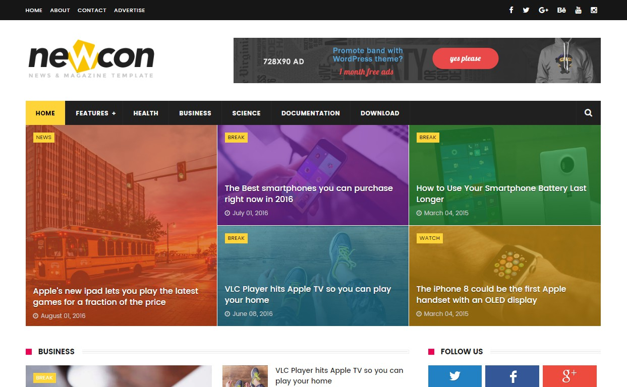 newcon magazine and technology blogger template free download