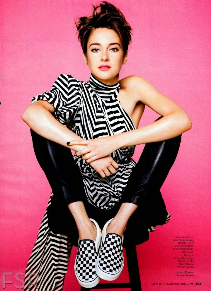 shailene woodley is sporty chic for the marie claire us april 2014 edition. Black Bedroom Furniture Sets. Home Design Ideas