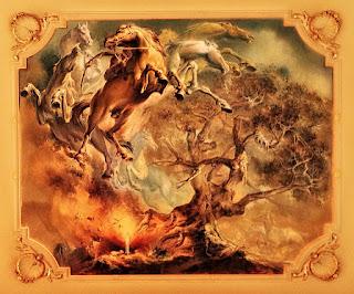 Gineteando o Baio nos Céus - Pintura de Aldo Locatelli, no Salão Negrinho do Pastoreio