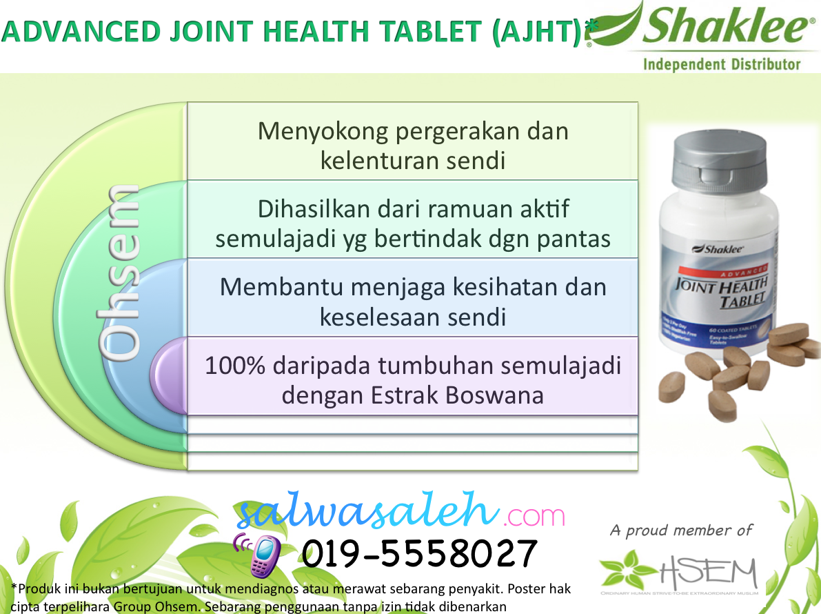 AJHT, Shaklee Advance Joint Health Tablet, Shaklee AJHT, Set sendi shaklee, supplemen sendi, Advance Joint Health, sakit sendi, testimoni AJHT