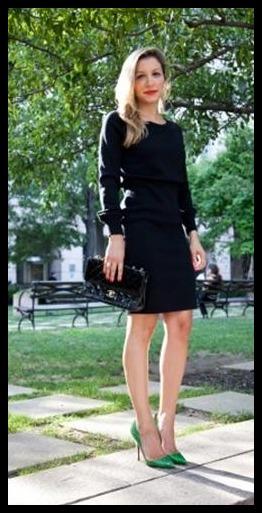 Vestido negro y zapatos verdes