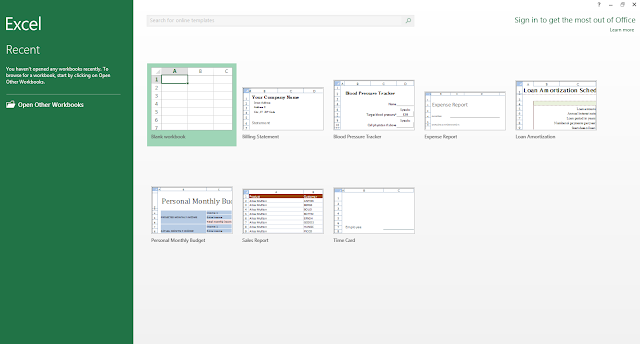 MS-Excel 2013 Welcome window