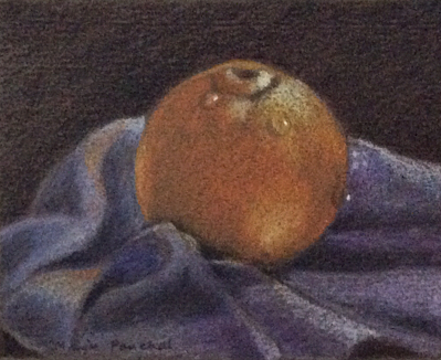 Still life painting of an apple with water drops using DERWENT water colour pencils . ( By Manju Panchal )