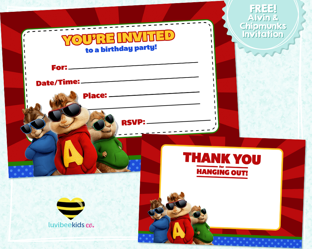 Free Printable - Alvin & the Chipmunks Birthday Invitation & Thank ...