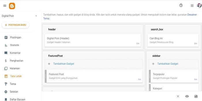 Cara Menambahkan Kolom Widget/Gadget Blog