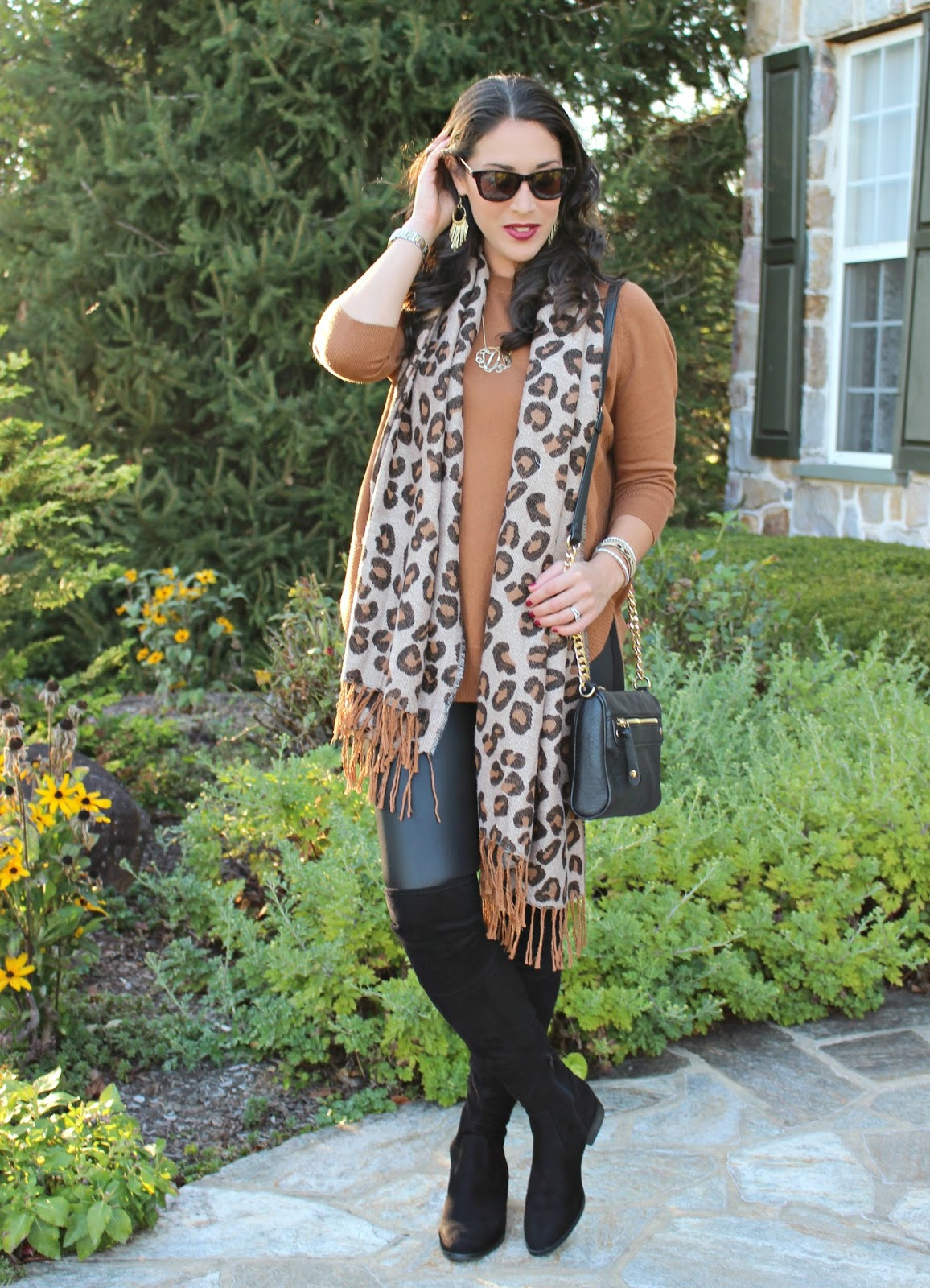 a12b30d71a I styled the tunic over my LOFT faux leather leggings. I sometimes like to  mix brown and black