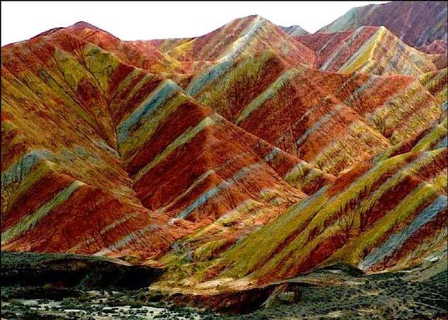 Sitio Espectacular Cromático, Montañas de Colores en Danxia, China 1