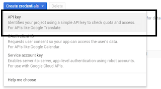 Create Credentials Android API Key