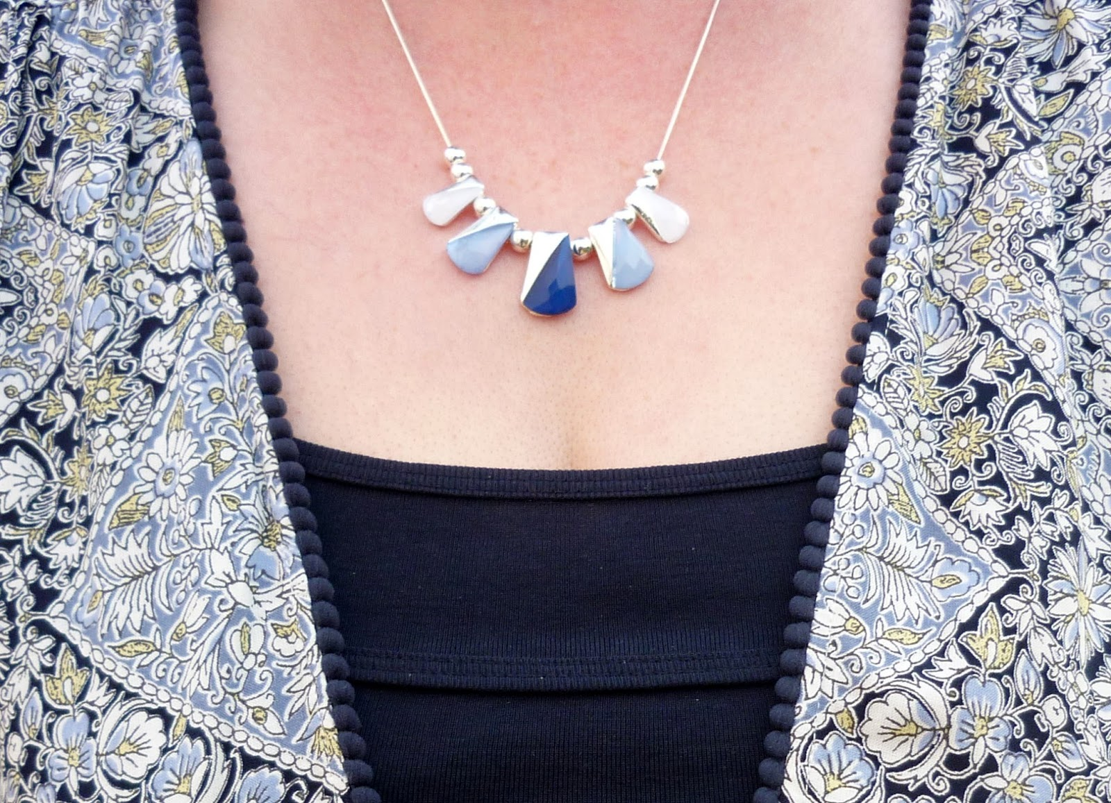 Close up of Silver & Blue Necklace