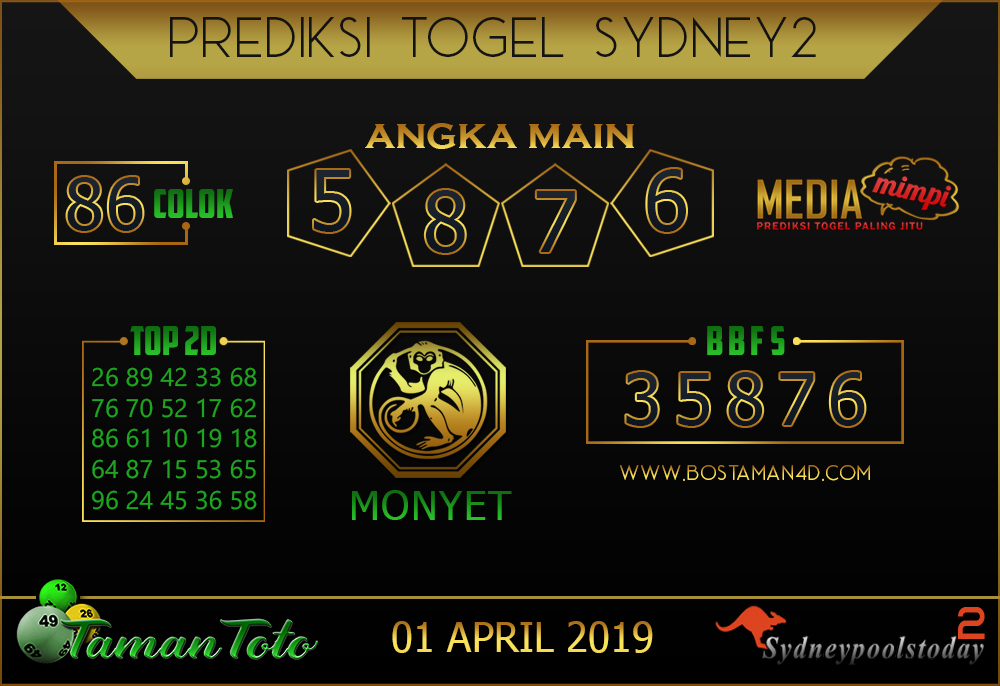 Prediksi Togel SYDNEY 2 TAMAN TOTO 01 APRIL 2019