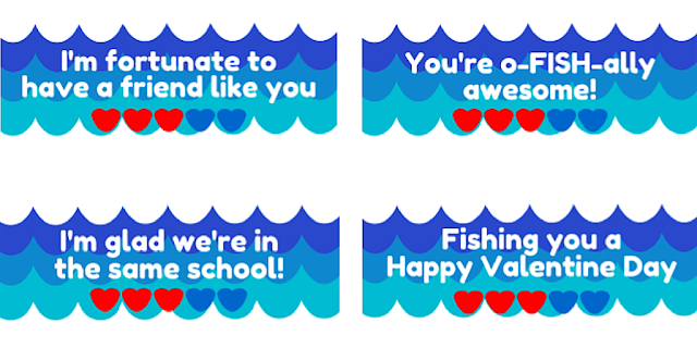O-FISH-ally Awesome Valentines printable 4 sayings