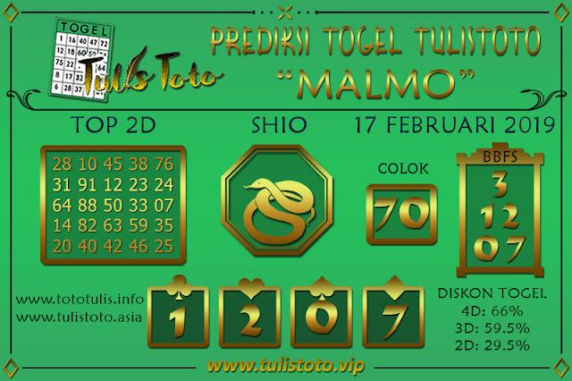 Prediksi Togel MALMO TULISTOTO 17 FEBRUARI 2019
