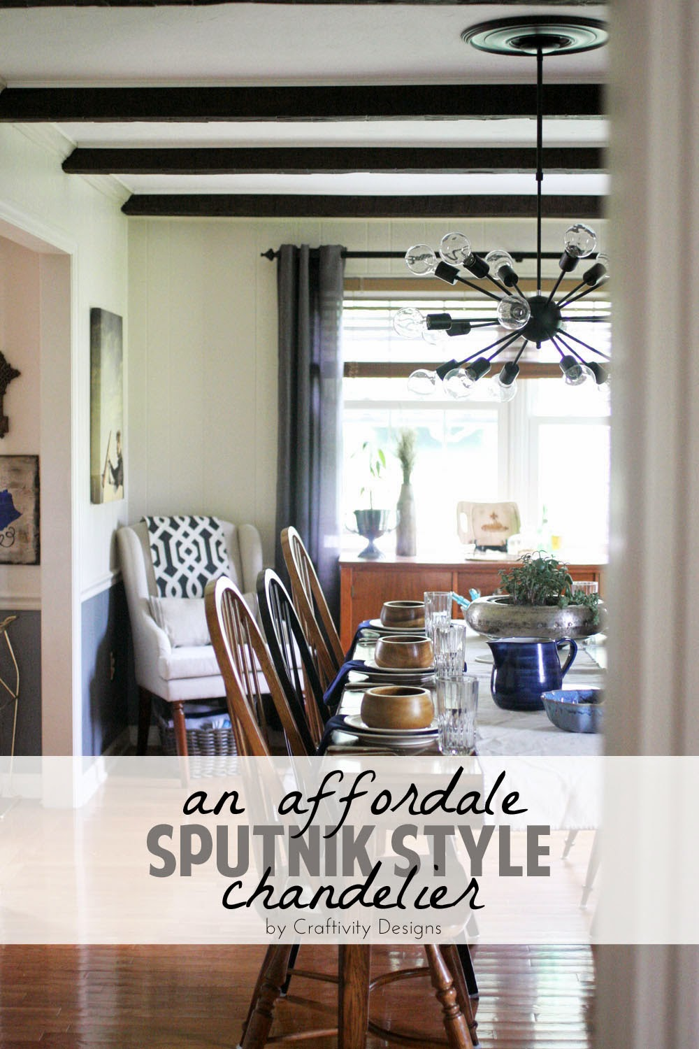An Affordable Sputnik Style Chandelier Dining Room