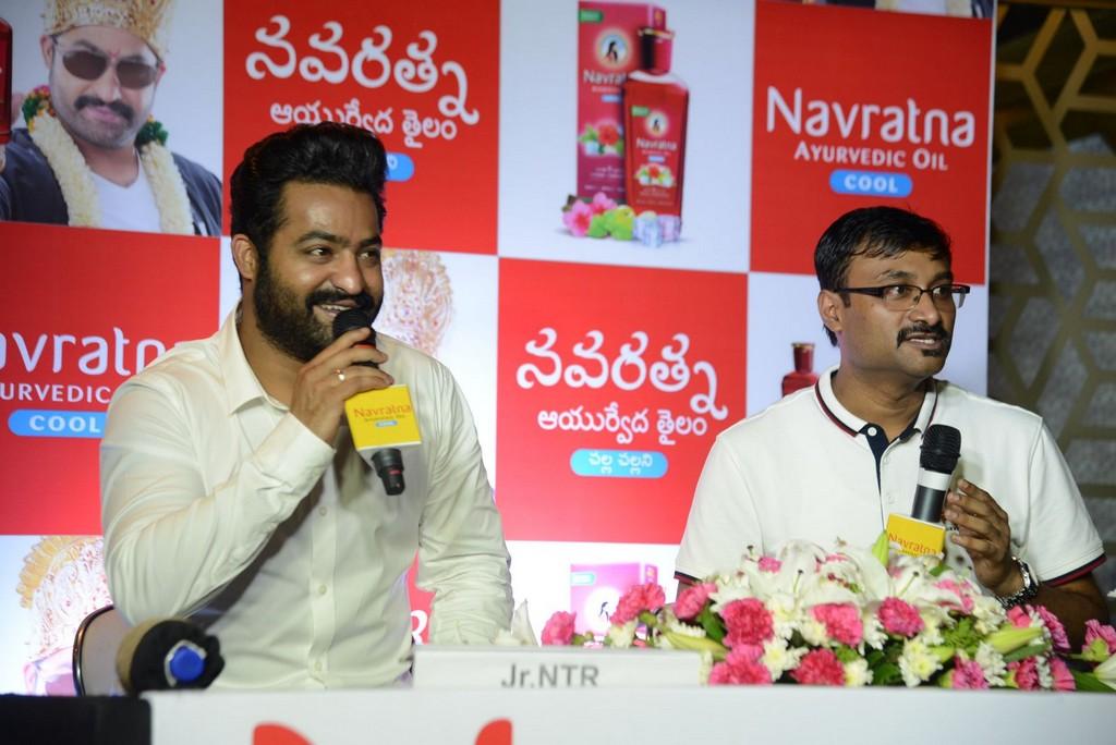Jr NTR At Navratna Ayurvedic Oil Press Meet Event Stills
