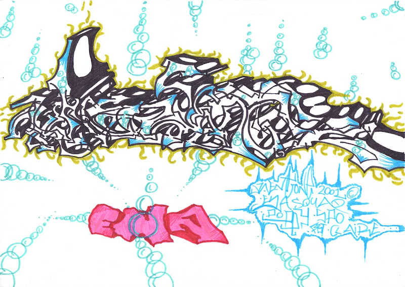 Kent letters, wild style. Colored with cyan and blue markers. Cyan bubbles and a pink ENA style at the bottom. Original naive, vintage graffiti sketch on copy paper by Kostas Gogas (akney), signed as Kent from his first Folder, 2001. ENA graffiti crew.