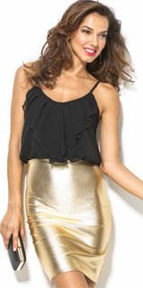 vestido de dos piezas escote redondo y falda dorada 2018