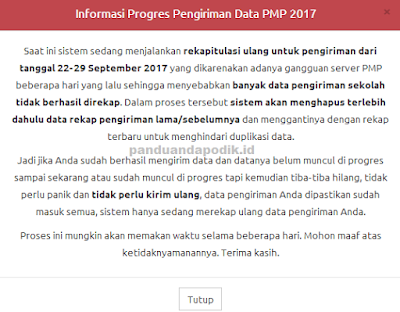 Informasi Progres Pengiriman Data PMP 2017