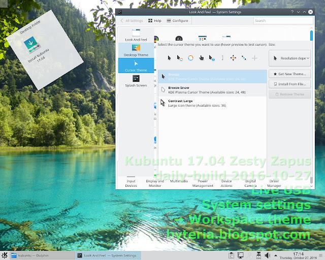 Erro no acesso às configurações do Espaço de trabalho > Temas, na sessão Live USB do Kubuntu 17.04 Zesty Zapus (daily-build)