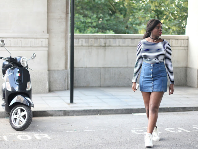 STRIPED TOP,  DENIM SKIRT AND WHITE TRAINERS