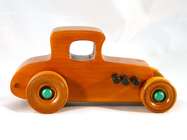 Right Side - Wooden Toy Car - Hot Rod Freaky Ford - 37 T Coupe - Pine - Amber Shellac - Metallic Green Hubs